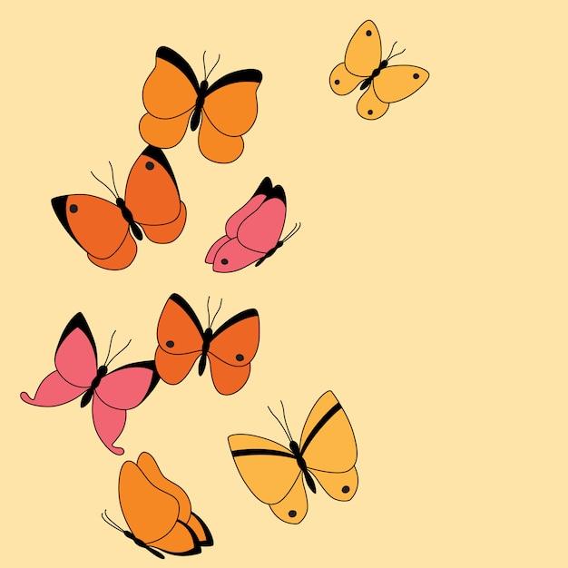Banner com borboletas coloridas e lugar Vetor Premium