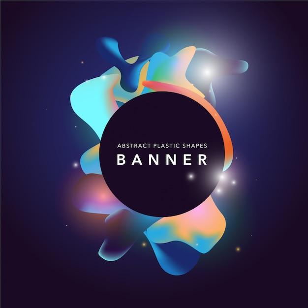 Banner com design de formas plásticas Vetor Premium