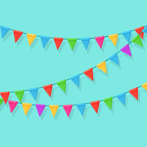 Banner com festão de bandeiras e fitas do festival de cores, estamenha. Vetor Premium