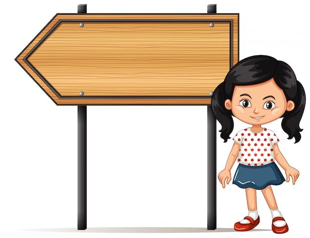 Banner com garota por placa de madeira Vetor Premium