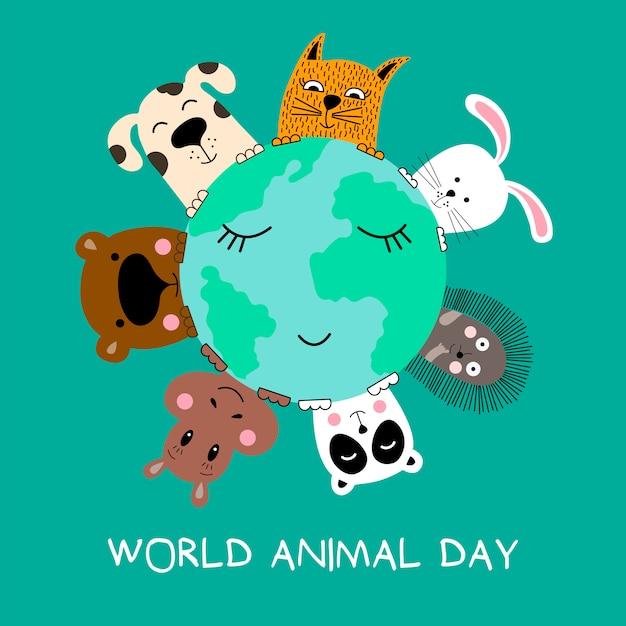 Banner com gato, cachorro, panda, urso, hipopótamo, coelho e ouriço. Vetor Premium