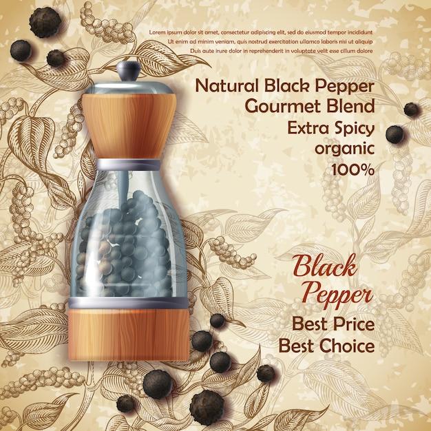 Banner com moinho de pimenta, preenchido com pimenta preta em plano de fundo texturizado Vetor grátis