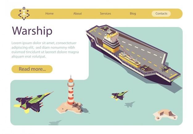 Banner com navio de guerra e landing jets militares Vetor Premium