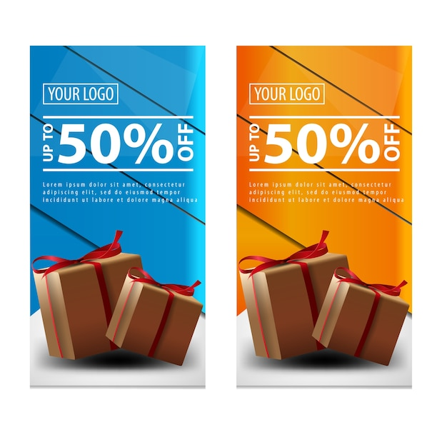 Banner com presentes Vetor Premium