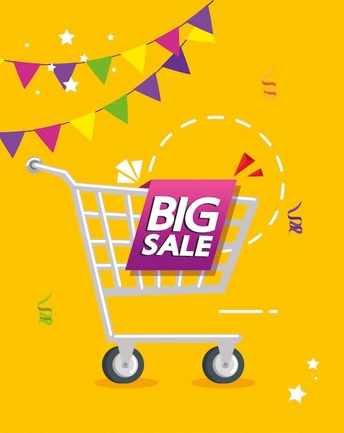 Banner comercial com letras de oferta de grande venda e carrinho de compras Vetor grátis