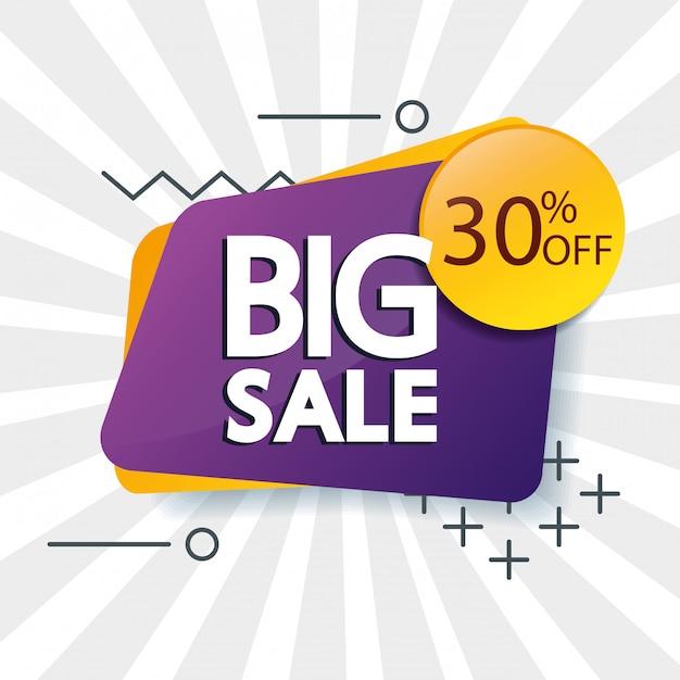 Banner comercial com letras de oferta de grande venda e desconto de trinta por cento Vetor grátis