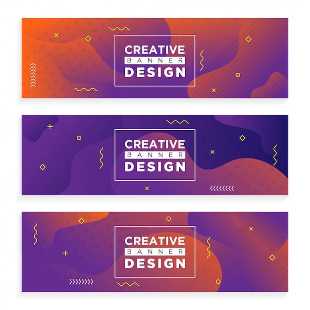 Banner criativo abstrato Vetor Premium