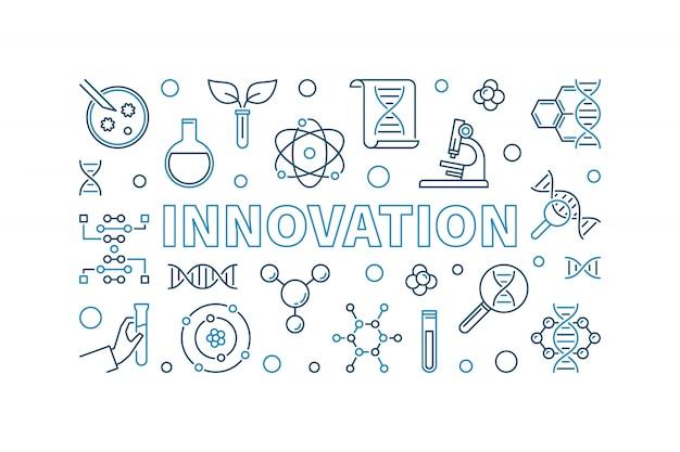 Banner criativo de contorno de vetor de inovação Vetor Premium