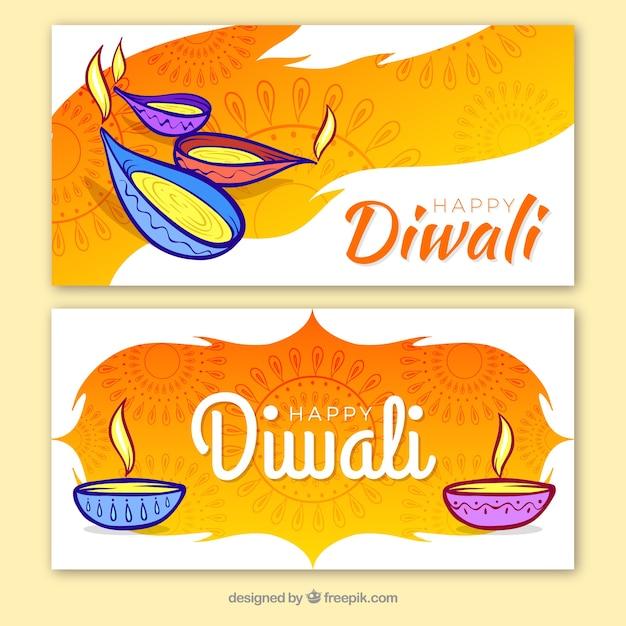 Banner criativo de diwali Vetor grátis
