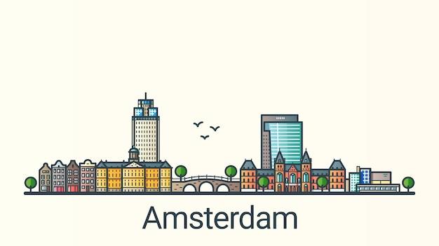 Banner da cidade de amsterdã em estilo moderno de linha plana. arte de linha da cidade de amsterdã. todos os edifícios separados e personalizáveis. Vetor Premium