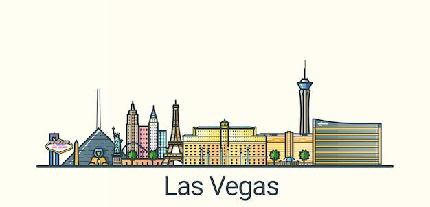 Banner da cidade de las vegas em estilo moderno de linha plana. todos os edifícios separados e personalizáveis. arte de linha. Vetor Premium