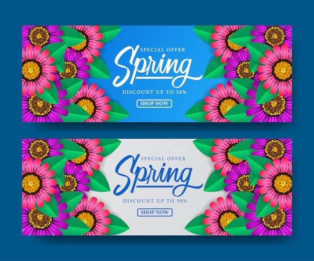Banner da temporada de primavera de venda Vetor Premium