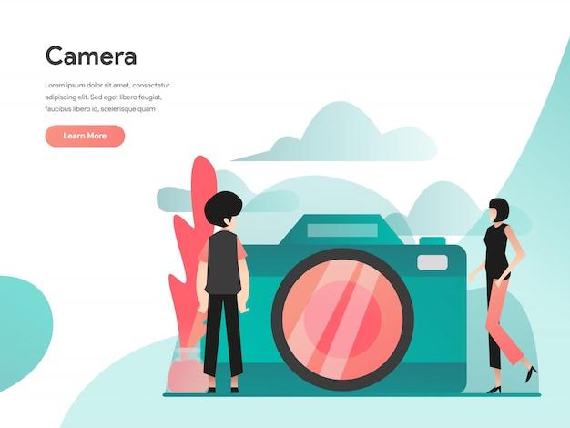Banner da web da câmera Vetor Premium