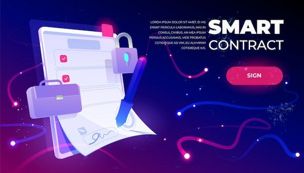 Banner da web de contrato inteligente Vetor grátis
