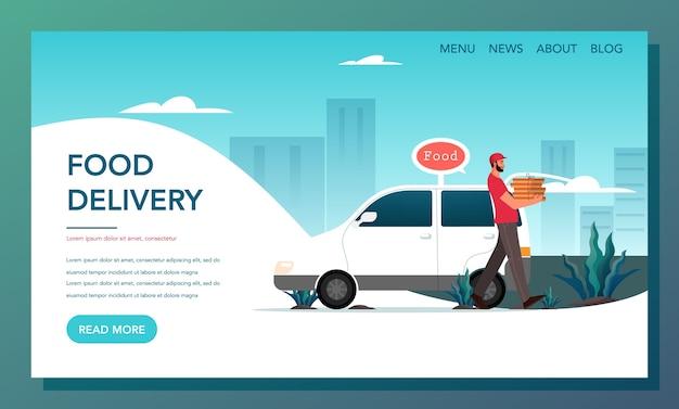Banner da web de entrega de comida. conceito de entrega online. encomende na internet e aguarde pelo correio. página inicial de entrega de comida. Vetor Premium