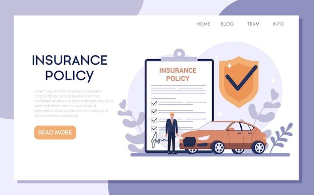 Banner da web de seguro de carro ou página de destino. ideia de segurança e proteção da propriedade e da vida contra danos. segurança contra desastres. Vetor Premium