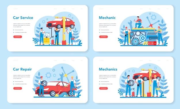 Banner da web de serviço de carro ou conjunto de páginas de destino. pessoas reparam carros usando ferramentas profissionais. idéia de reparo e diagnóstico de automóveis. ícone de roda e óleo, motor e combustível. Vetor Premium