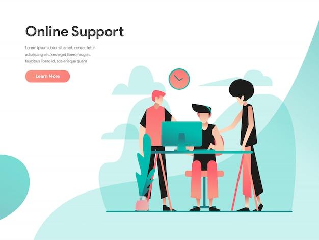 Banner da web de suporte on-line Vetor Premium