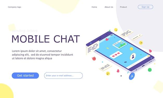 Banner da web do aplicativo de bate-papo de mídia social móvel isométrica Vetor Premium