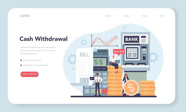 Banner da web do conceito de retirada de dinheiro ou página inicial. ideia de receita financeira, economia de dinheiro e riqueza. Vetor Premium
