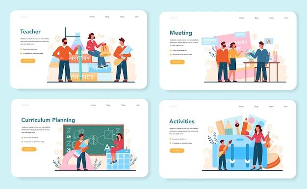 Banner da web do professor ou conjunto de páginas de destino. profesor planejando currículo, conhecendo pais. Vetor Premium