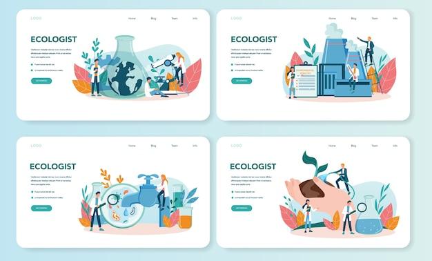 Banner da web ecologista ou conjunto de páginas de destino. conjunto de cientista cuidando da ecologia e do meio ambiente. proteção do ar, solo e água. ativista ecológico profissional. Vetor Premium