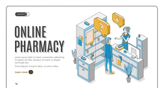 Banner da web isométrica de farmácia on-line Vetor grátis