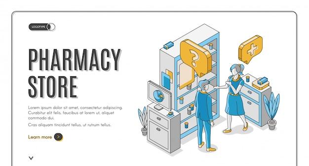 Banner da web isométrica de loja de farmácia Vetor grátis