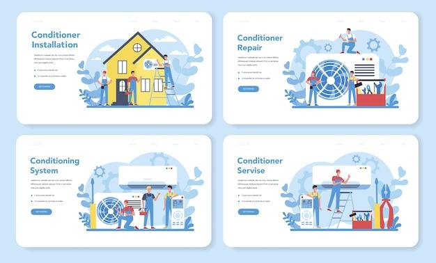 Banner da web ou conjunto de páginas de destino para serviços de instalação e reparo de ar condicionado. reparador instalando, examinando e reparando o condicionador com ferramentas e equipamentos especiais. Vetor Premium