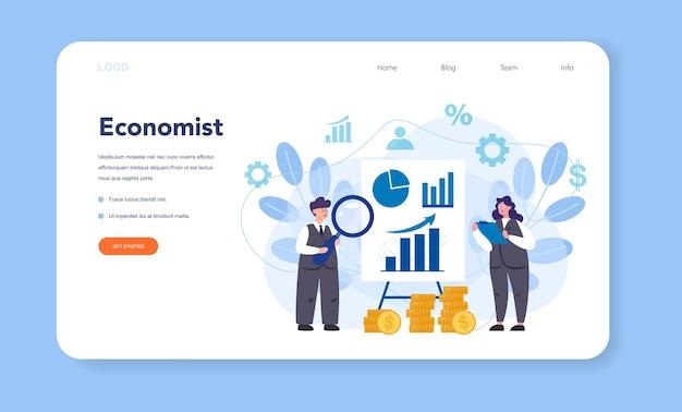 Banner da web ou página de destino do economist. cientista profissional estudando economia e dinheiro. Vetor Premium