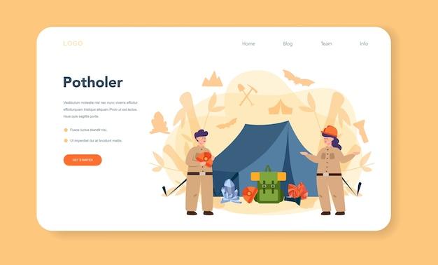 Banner da web ou página de destino do espeleologista Vetor Premium