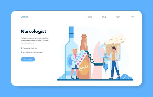 Banner da web ou página de destino do narcologista. médico profissional Vetor Premium