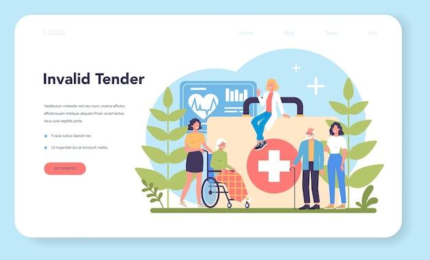 Banner da web ou página de destino do serviço de enfermagem Vetor Premium