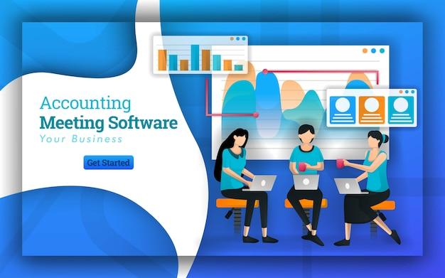 Banner da web para reuniões de software de contabilidade Vetor Premium