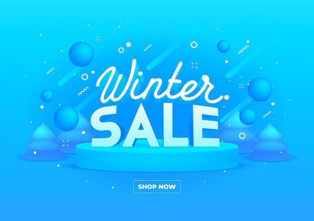 Banner da web para venda de inverno em azul Vetor Premium