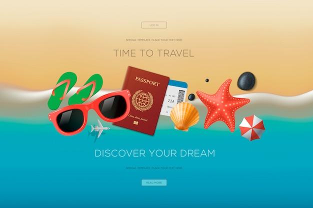 Banner da web sobre o tema da viagem, férias, aventura. hora de viajar. conceito de ilustração moderna para o site e desenvolvimento de site móvel. Vetor Premium