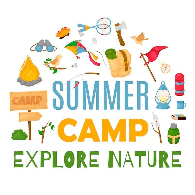 Banner de acampamento de verão Vetor Premium