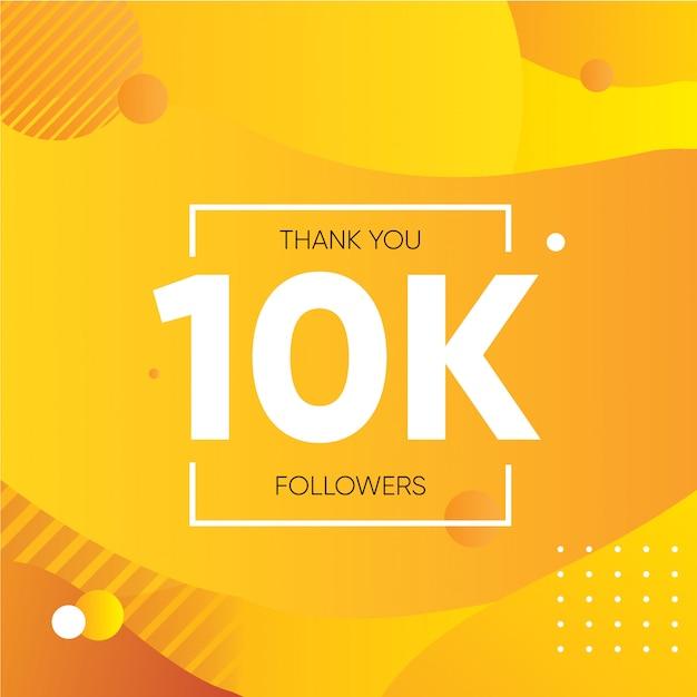 Banner de agradecimento por dez mil seguidores na mídia social gradiente laranja roxo Vetor Premium
