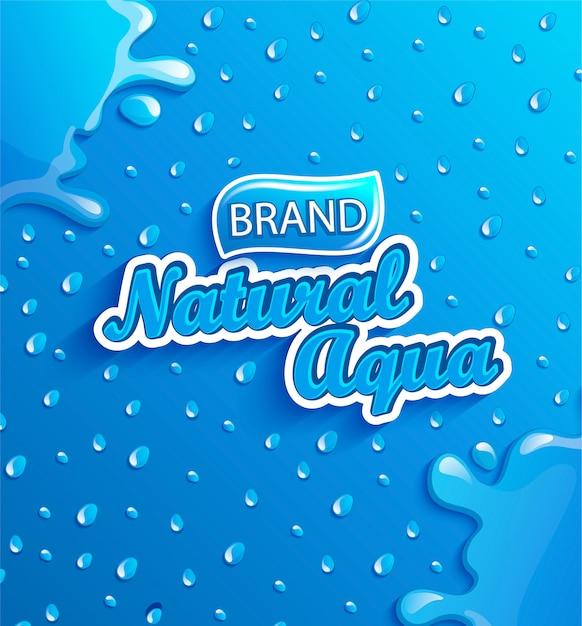 Banner de água natural fresca com gotas e respingos. Vetor Premium