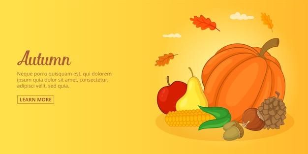 Banner de alimentos de outono homem horizontal, estilo cartoon Vetor Premium