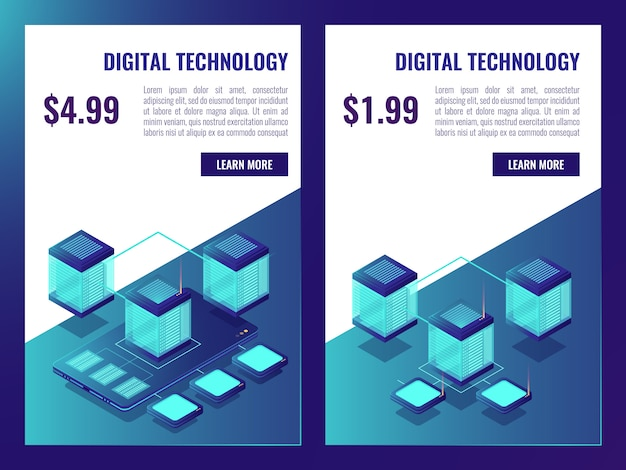 Banner de alojamento e armazenamento de dados em nuvem, brochura de sala de servidores com preço Vetor grátis