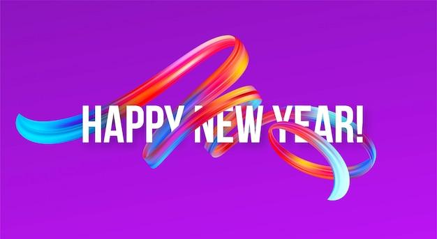Banner de ano novo de 2019 com um óleo de pincelada colorido ou tinta acrílica Vetor Premium