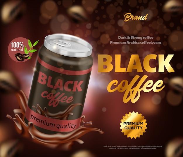 Banner de anúncio de café de qualidade premium natural preto Vetor Premium