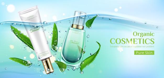 Banner de anúncio de tubos de produtos cosméticos orgânicos, frascos de cosméticos naturais eco, creme de cuidados da pele pura e soro. Vetor grátis