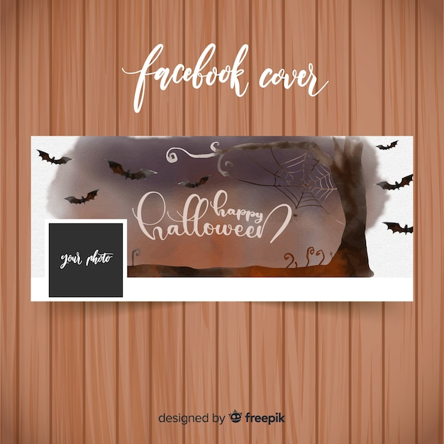 Banner de aquarela facebook com conceito de halloween Vetor grátis