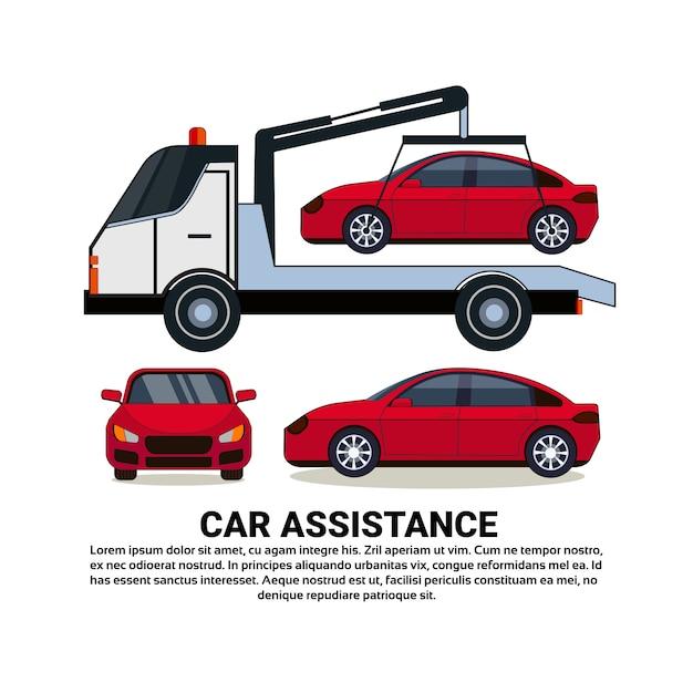 Banner de assistência de carro com veículo quebrado de reboque de carro sobre branco Vetor Premium