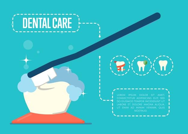Banner de atendimento odontológico com dente e escova de dentes Vetor Premium