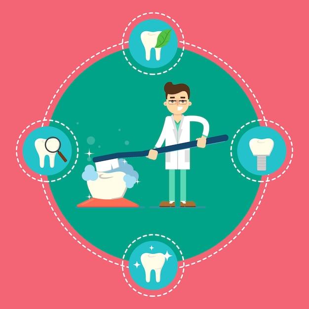 Banner de atendimento odontológico com dentista e escova de dentes Vetor Premium
