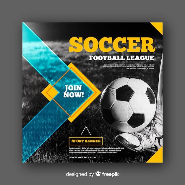 Banner de atleta de futebol com foto Vetor grátis