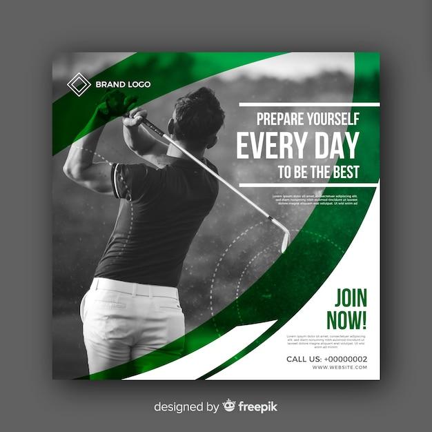 Banner de atleta de golfe com foto Vetor grátis